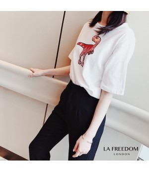 LA Freedom Round Color Dinosaur Shirt-White