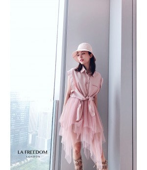 LA Freedom Sleeveless Two Set Dress-Pink