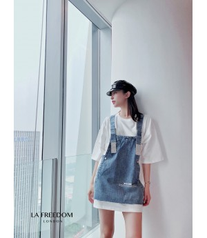 LA Freedom Denim Fake Two Set Tee