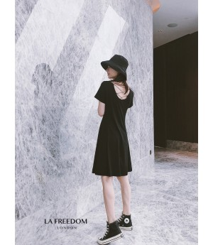 LA Freedom Backless Dress-Black