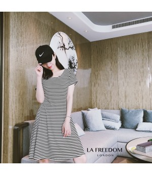 LA Freedom Backless Dress-Stripe