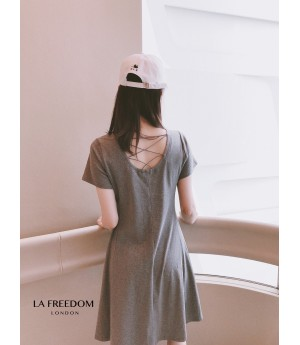 LA Freedom Backless Dress-Grey