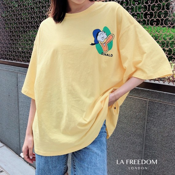 LA Freedom Cartoon Printing T-Shirt-Yellow