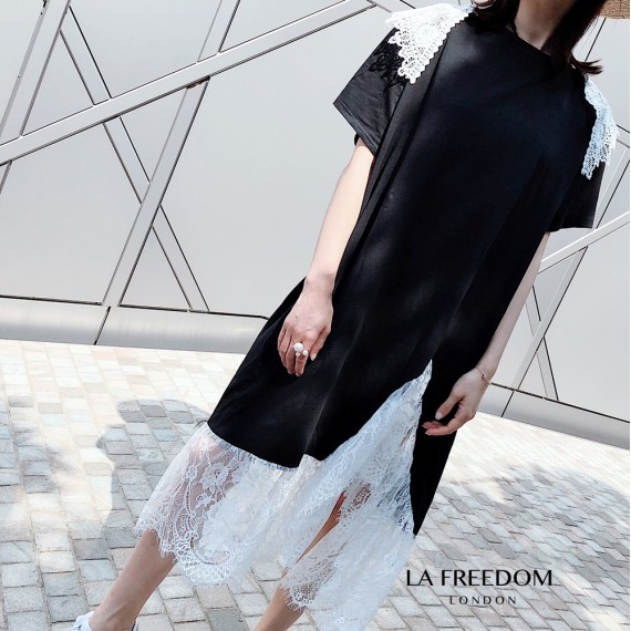 LA Freedom Asymmetry Lace Round Collar Dress
