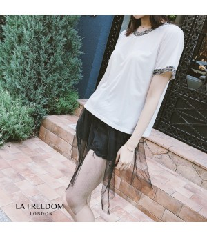 LA Freedom Chanel Style Round Collar T-Shirt-White