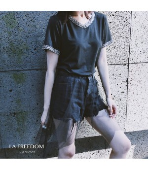 LA Freedom Chanel Style Round Collar T-Shirt-Black