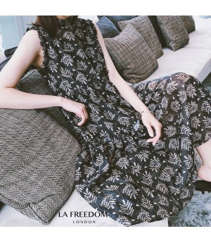 LA Freedom Leaves Printing Dress Two-Set-Black
