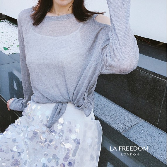 LA Freedom Off Shoulder T-Shirt-Grey