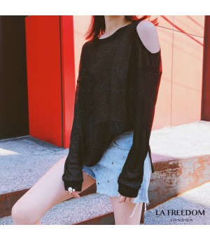LA Freedom Off Shoulder T-Shirt-Black