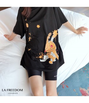 LA Freedom Rabbit Printing T-Shirt-Black