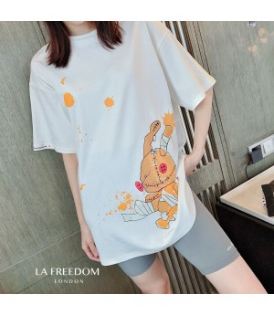 LA Freedom Rabbit Printing T-Shirt-White