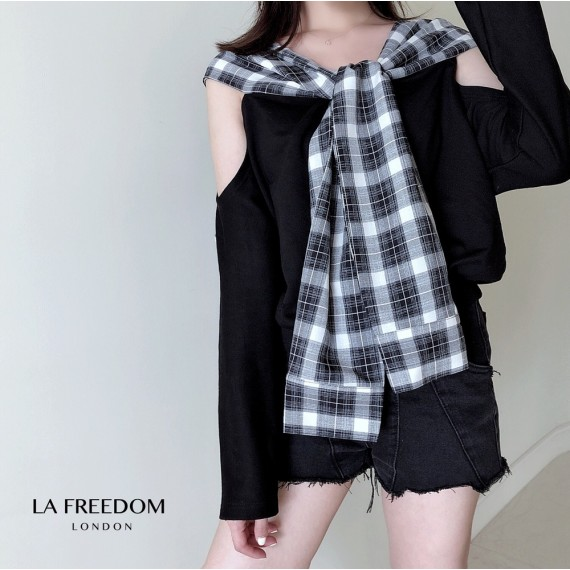 LA Freedom Off-Shoulder Lattice Hoodie