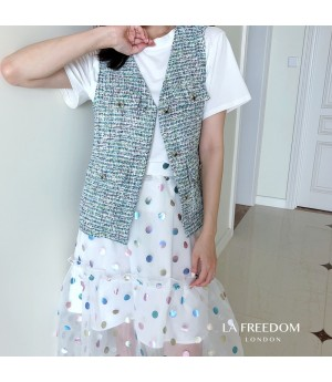 LA Freedom Chanel Style Retro Vest-Green