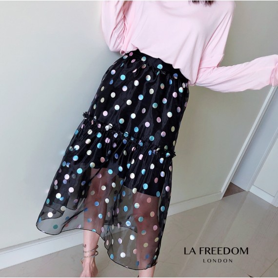 LA Freedom Colorful Babble Fish Tail Skirt-Black