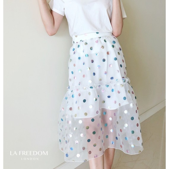 LA Freedom Colorful Babble Fish Tail Skirt-White