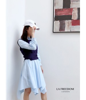 LA Freedom Early Autumn Shirt&Vest Two-Piece-Blue