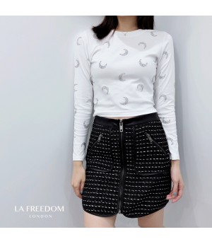 LA Freedom Moon Diamond Long Sleeve Shirt-White