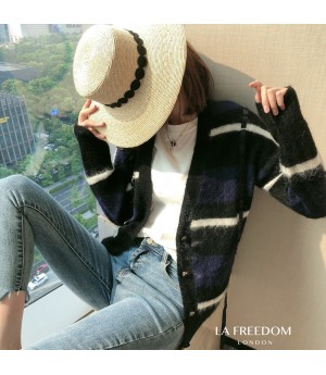 LA Freedom Lazy Muilt-Color Knit Sweater-Blue