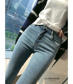 LA Freedom High Waist Slim Jeans-Blue