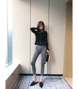 LA Freedom High Waist Slim Jeans-Grey
