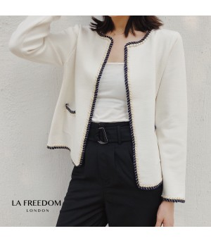 LA Freedom Crimping Knit Cardigan-White