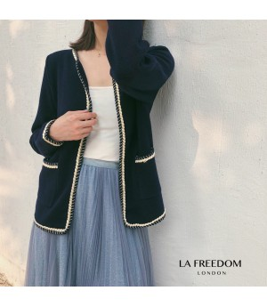 LA Freedom Crimping Knit Cardigan-Black