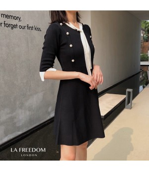 LA Freedom Double-Breasted Pearl Untie Dress