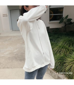 LA Freedom Starry Sky Thin Hoodie-White