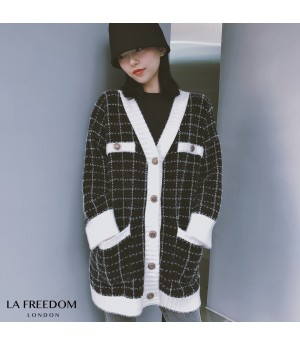 LA Freedom Thicken Lattice Sweater Coat