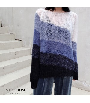 LA Freedom Multi-Layer Gradient Sweater-Blue