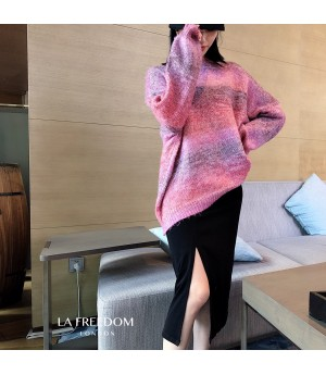 LA Freedom Knit Gradient Sweater-Purple Red