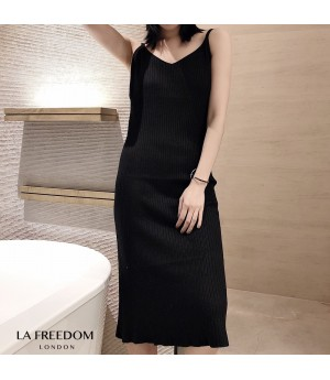 LA Freedom Knit Lace Dress-Black