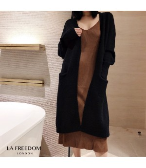 LA Freedom Autumn Lazy Knit Cardigan-Black