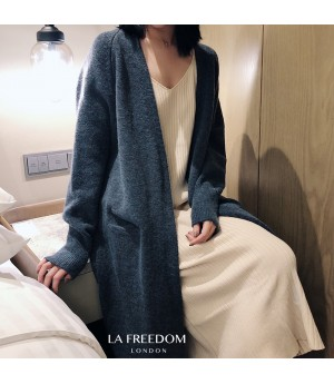 LA Freedom Autumn Lazy Knit Cardigan-Blue
