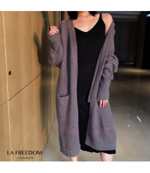 LA Freedom Autumn Lazy Knit Cardigan-Grey