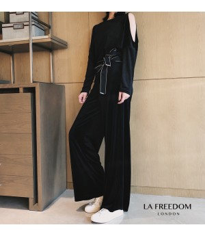 LA Freedom Korean Velvet Off-Shoulder Two-Piece