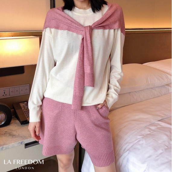 LA Freedom Wool Fake Two Piece Shawl Two-Piece-Pink