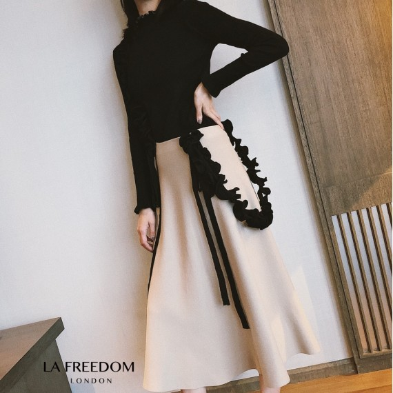 LA Freedom Petal Colar Knit Shirt-Black