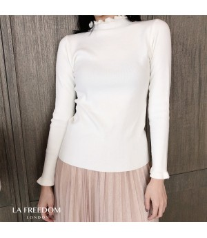 LA Freedom Petal Colar Knit Shirt-White
