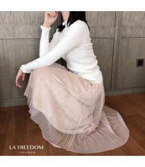 LA Freedom Mesh Diamond Wrinkle Skirt