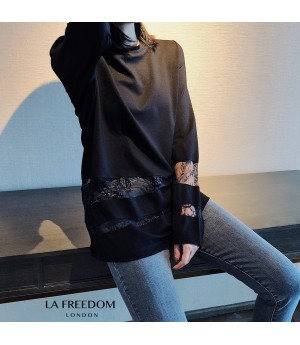LA Freedom Lace Stripes Long T-Shirt-Black