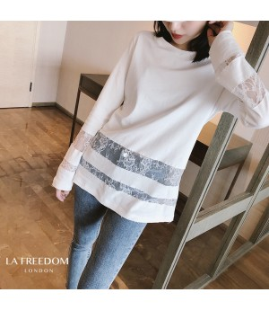 LA Freedom Lace Stripes Long T-Shirt-White