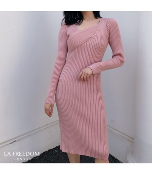 LA Freedom Fashionable Slim Fit Knit Dress-Pink