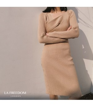 LA Freedom Fashionable Slim Fit Knit Dress-Khaki