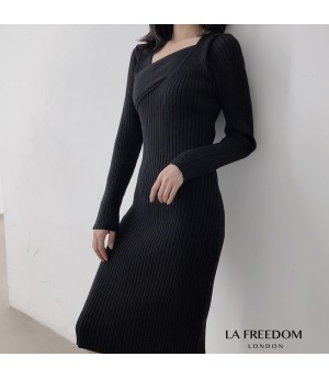 LA Freedom Fashionable Slim Fit Knit Dress-Black