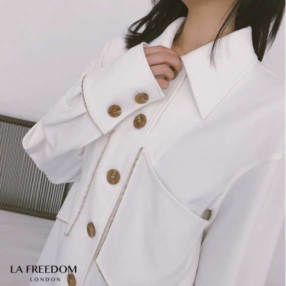 LA Freedom Diamond Big Pocket Thick Shirt-White
