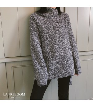 LA Freedom Soft Curl Turtleneck Sweater-Grey