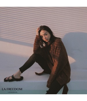 LA Freedom Soft Curl Turtleneck Sweater-Brown