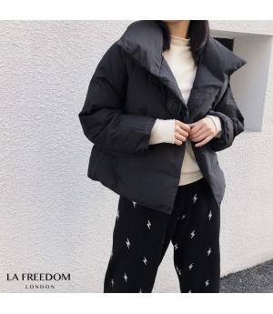 LA Freedom Single-Breasted Lightweight Cotton Coat-Black