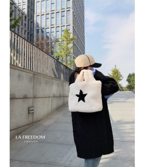 LA Freedom Star Rex Rabbit Hair Handbag-White